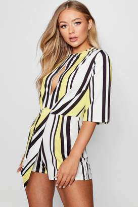 boohoo Stripe Knot Front Playsuit
