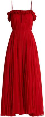 Ruffled pleated-chiffon gown