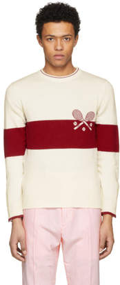 Thom Browne Red and White Tennis Knit Sweater