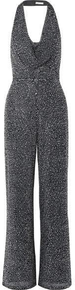 Salem Draped Crystal-embellished Stretch-crepe Halterneck Jumpsuit - Black