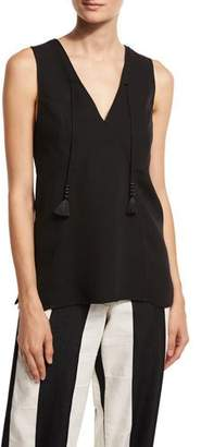 Derek Lam Tassel V-Neck Sleeveless Blouse, Black $1,150 thestylecure.com