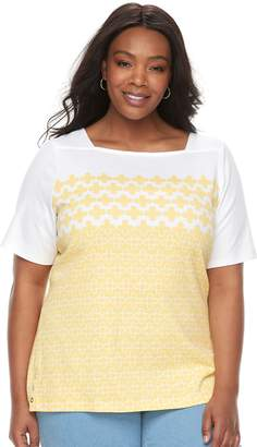 Croft & Barrow Plus Size Print Button-Hem Squareneck Top