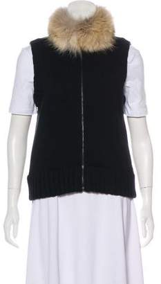 Ralph Lauren Black Label Fur-Trimmed Cashmere Vest