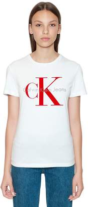 Calvin Klein Jeans Ck Flocked Logo Cotton T-Shirt