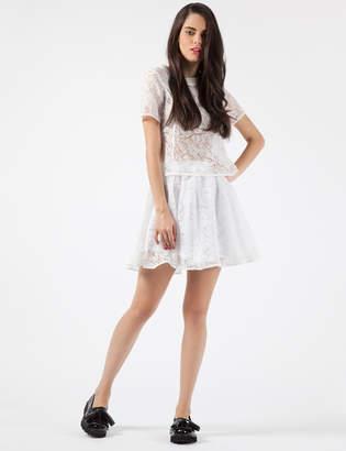 Stolen Girlfriends Club White Cracked Crystal Mini Skirt