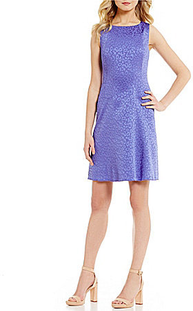 Anne Klein Anne Klein Crew Neck Sleeveless Dropped Waist Printed Jacquard Fit & Flare Dress