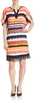 Kensie Fringed Blurred-Stripe Shift Dress $109 thestylecure.com