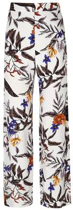 Gestuz Grey Floral-print Wide-leg Trousers