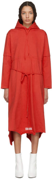 Red Panelled Hooded Dress