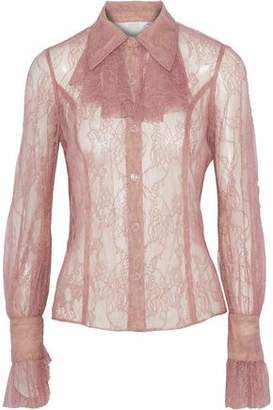 Anna Sui Ruffle-Trimmed Chantilly Lace Shirt