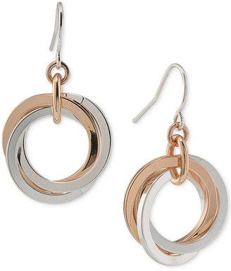 Lauren Ralph Lauren Two-Tone Interlocking Drop Hoop Earrings $34 thestylecure.com