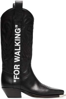 Off-White black For Walking 40 leather western boots