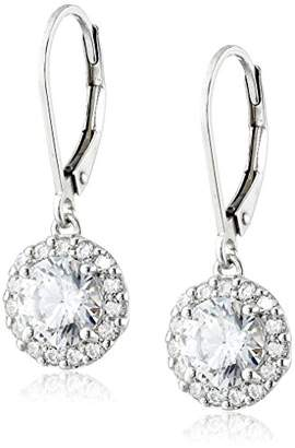 Swarovski Platinum Plated Sterling Silver Lever back Drop Earrings set with Round Cut Zirconia (3 cttw)