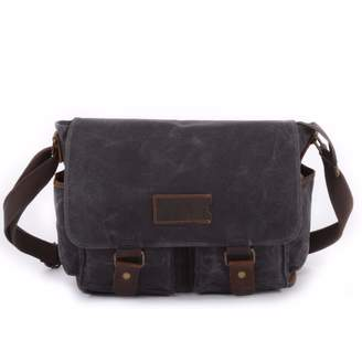 EAZO - Waxed Canvas Water Repellent Postman Shoulder Bag in Grey