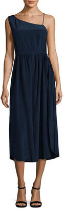 Jill Stuart Pauline Drawstring One-Shoulder Dress