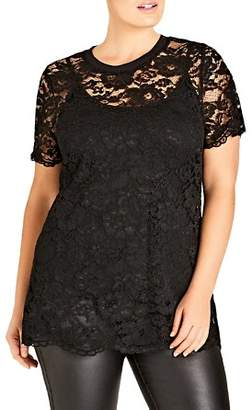 City Chic Plus Scalloped Lace Top