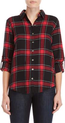 Derek Heart Plaid Lace-Up Shirt