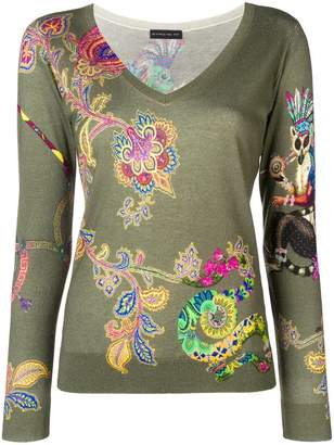 Etro floral V-neck sweater