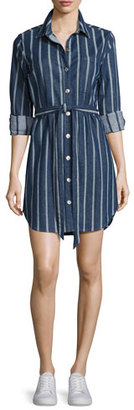 7 For All Mankind Striped Denim Belted Shirtdress, Indigo $249 thestylecure.com