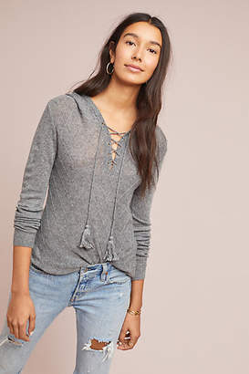 Moth Textured Lace-Up Hoodie