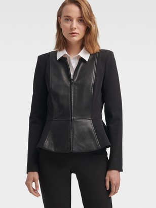 DKNY Peplum Jacket With Faux-leather Panel