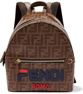 Fendi Leather-trimmed Printed Coated-canvas Backpack - Brown