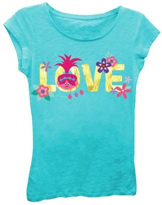 "TROLLS Girls' ""Love"" Short Sleeve Graphic T-shirt With Gold Foil"