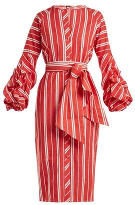 Johanna Ortiz Striped Balloon Sleeve Linen Dress - Womens - Red
