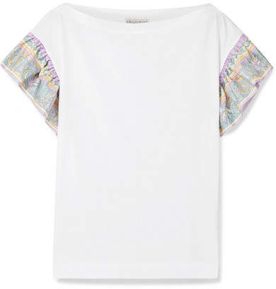 Emilio Pucci - Printed Silk Twill-trimmed Cotton-jersey T-shirt - White