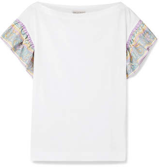 Emilio Pucci Printed Silk Twill-trimmed Cotton-jersey T-shirt - White