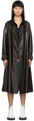Prada Black Soft Leather A-Line Trench Coat