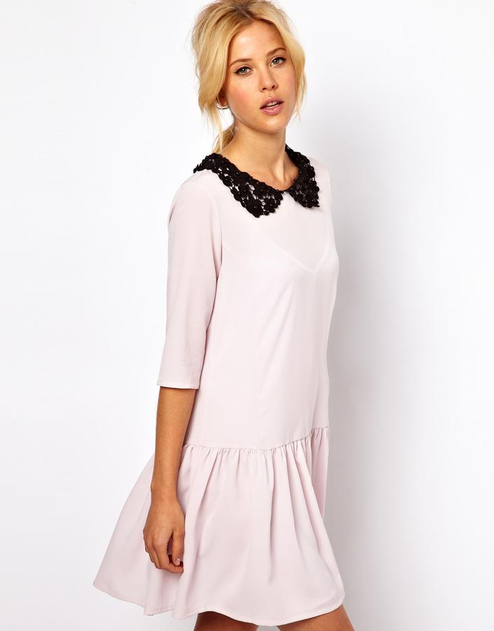 Asos Shift Dress with Drop Waist And Contrast Collar