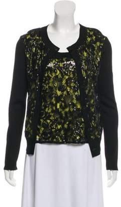 St. John Embellished Lace Cardigan Set Black Embellished Lace Cardigan Set