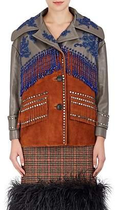 Prada Women's Embellished Leather & Suede Jacket