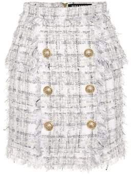 Balmain Exclusive to Mytheresa – Metallic checked tweed miniskirt