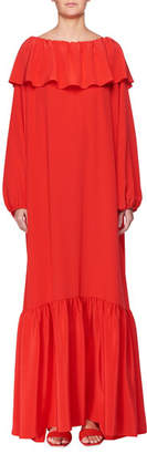 The Row Roosho Off-the-Shoulder Long-Sleeve Ruffled Long Silk Dress