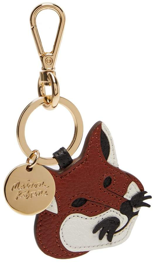 MAISON KITSUNÉ Leather fox keyring