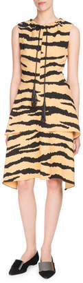 Proenza Schouler Sleeveless Tie-Neck Tiered A-Line Printed Crepe Dress