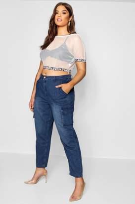 boohoo Plus Lydia Cargo Pocket Denim Jeans