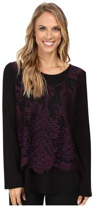 Karen Kane Flare Sleeve Embroidered Top Women's Clothing