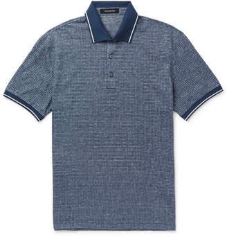 Ermenegildo Zegna Contrast-Tipped Cotton And Linen-Blend Polo Shirt