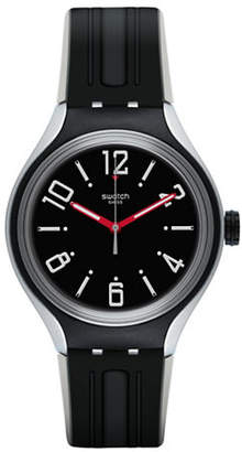 Swatch Black Dial Analog Silicone Strap Watch
