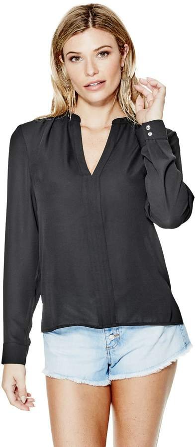 GUESS Women's Jenalyn Long-Sleeve Draped-Back Top