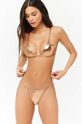 c226996299947 Forever 21 Metallic Strappy String Bikini Bottoms