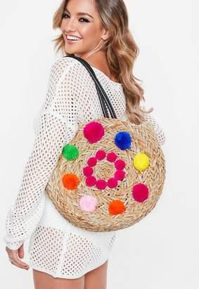 Missguided Pink Circular Detail Pom Pom Bag, Multi
