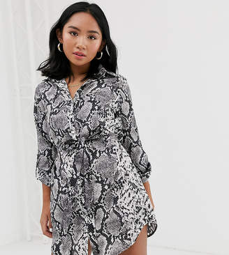 Parisian Petite shirt dress in snake print