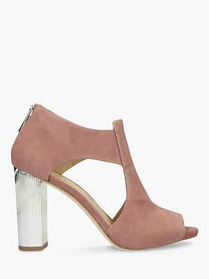 Michael Kors MICHAEL Paloma Block Heel Peep Toe Shoe Boots, Rose Suede