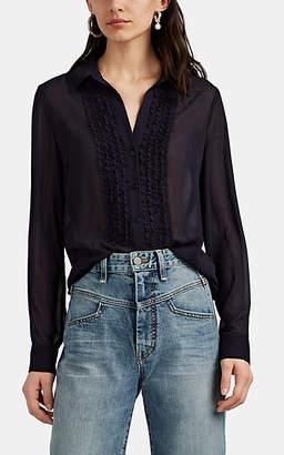L'Agence Women's Mari Ruffle Chiffon Tuxedo Blouse - Navy