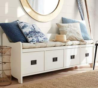 At Pottery Barn · Pottery Barn Wade Bench, Almond White