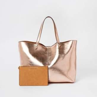 River Island Gold metallic reversible beach tote bag